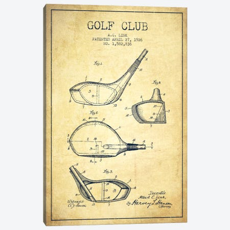 Golf Club Vintage Patent Blueprint Canvas Print #ADP2129} by Aged Pixel Art Print