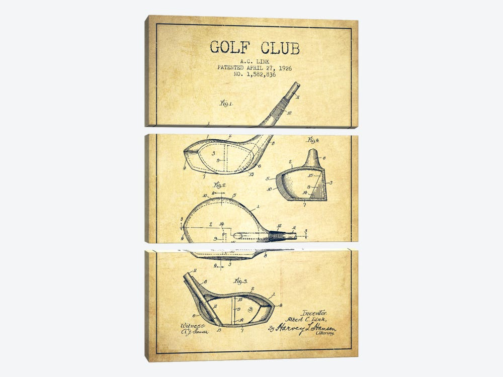 Golf Club Vintage Patent Blueprint by Aged Pixel 3-piece Canvas Artwork