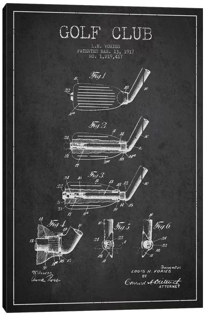 Golf Club Charcoal Patent Blueprint Canvas Art Print