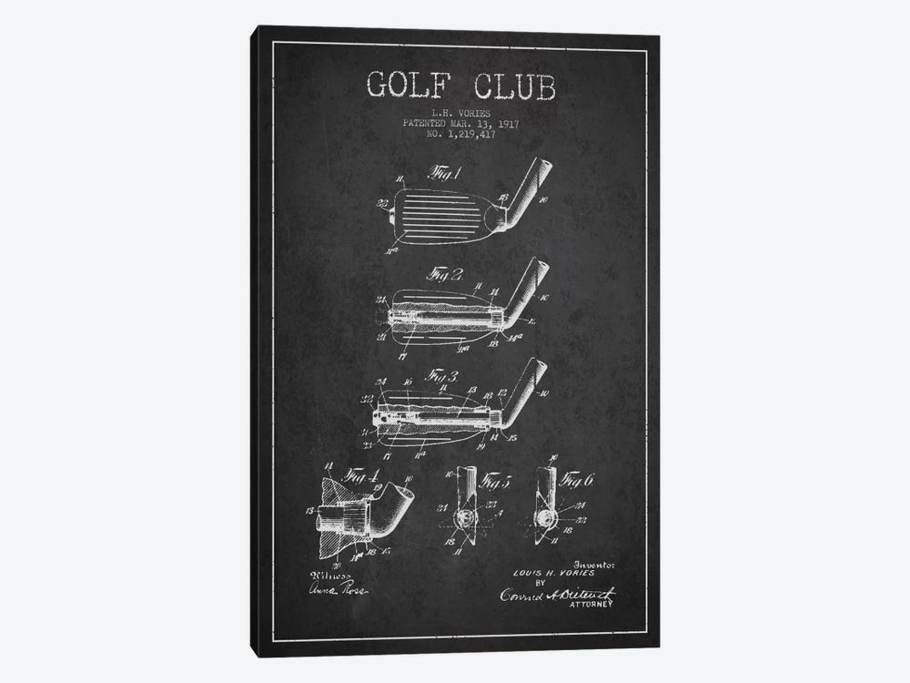Golf Club Charcoal Patent Blueprint by Aged Pixel 1-piece Canvas Art