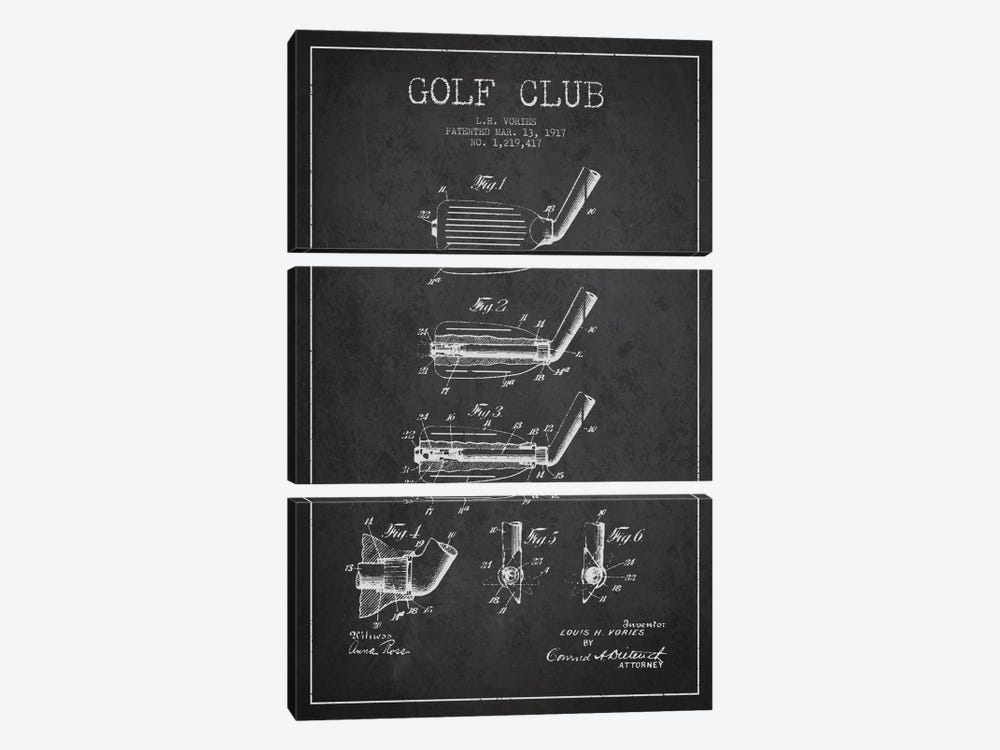 Golf Club Charcoal Patent Blueprint by Aged Pixel 3-piece Canvas Artwork