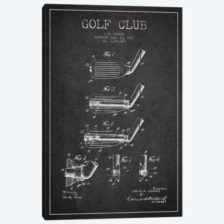 Golf Club Charcoal Patent Blueprint Canvas Print #ADP2130} by Aged Pixel Canvas Artwork