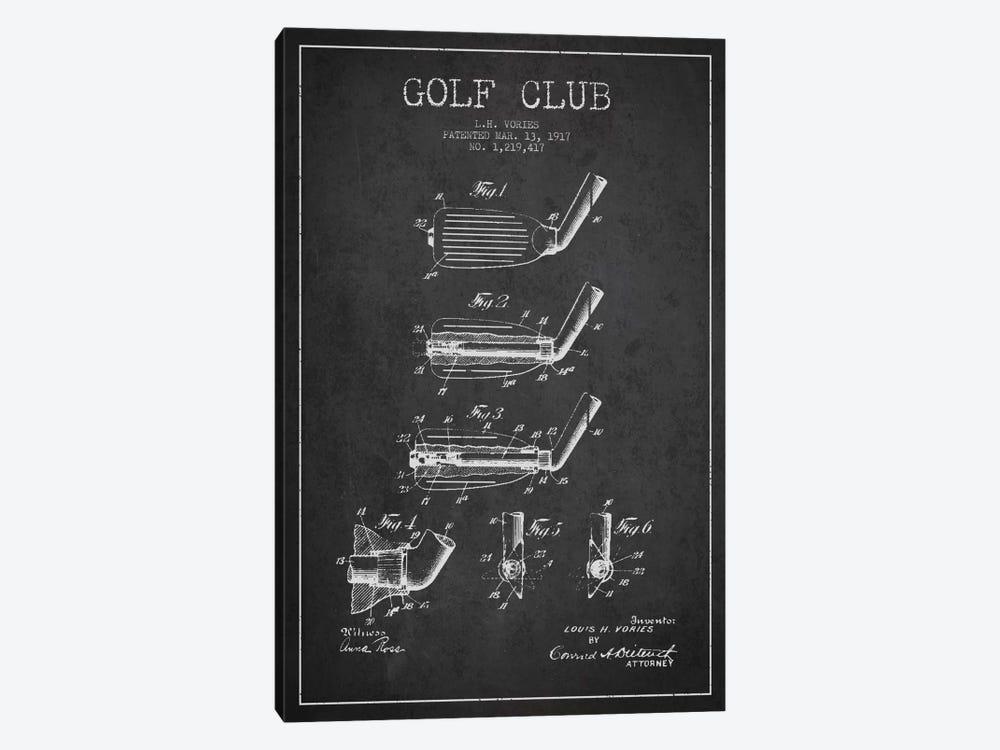 Golf Club Charcoal Patent Blueprint by Aged Pixel 1-piece Canvas Art
