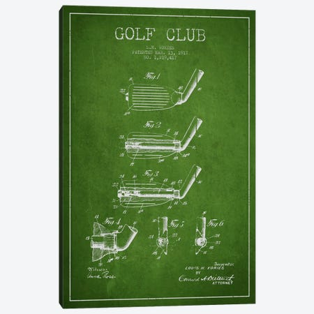 Golf Club Green Patent Blueprint Canvas Print #ADP2131} by Aged Pixel Canvas Art