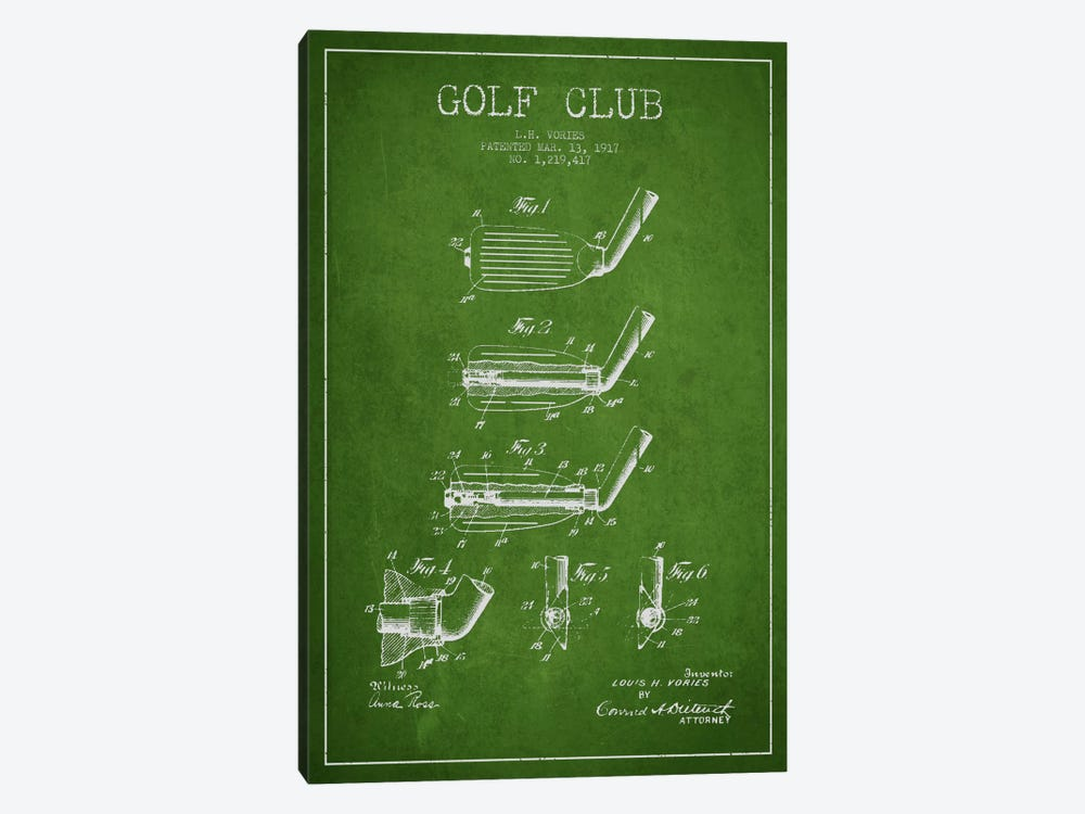 Golf Club Green Patent Blueprint by Aged Pixel 1-piece Art Print