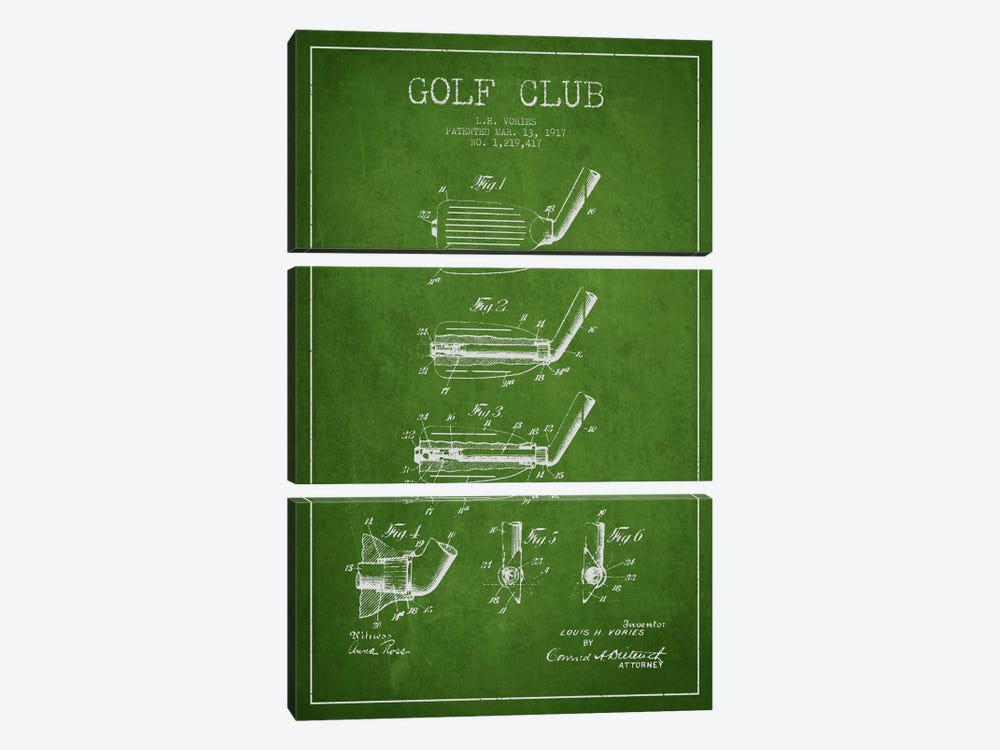 Golf Club Green Patent Blueprint by Aged Pixel 3-piece Canvas Print