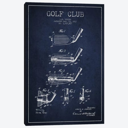 Golf Club Navy Blue Patent Blueprint Canvas Print #ADP2132} by Aged Pixel Canvas Wall Art