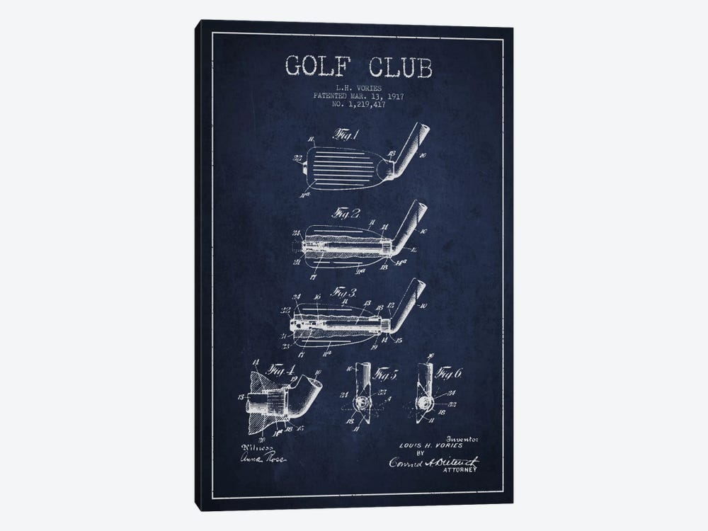 Golf Club Navy Blue Patent Blueprint 1-piece Canvas Art