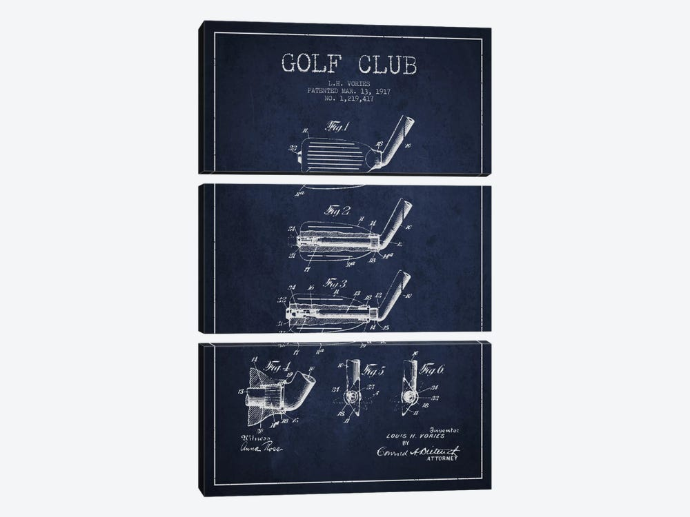 Golf Club Navy Blue Patent Blueprint by Aged Pixel 3-piece Canvas Wall Art