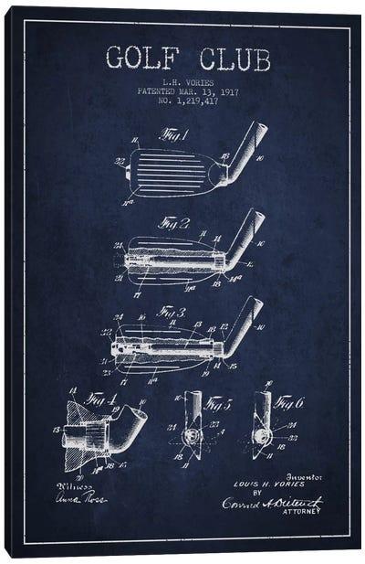 Golf Club Navy Blue Patent Blueprint Canvas Art Print