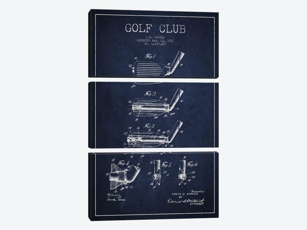 Golf Club Navy Blue Patent Blueprint by Aged Pixel 3-piece Canvas Wall Art