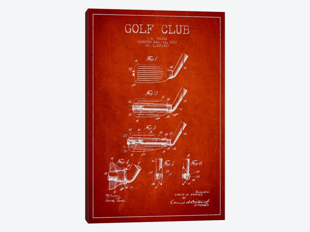 Golf Club Red Patent Blueprint by Aged Pixel 1-piece Canvas Art Print