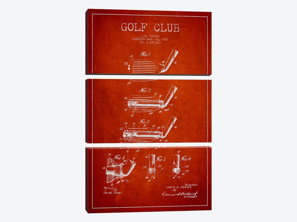 Golf Club Red Patent Blueprint by Aged Pixel 3-piece Art Print