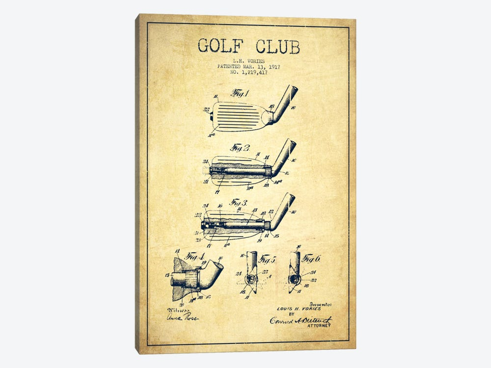 Golf Club Vintage Patent Blueprint by Aged Pixel 1-piece Canvas Art