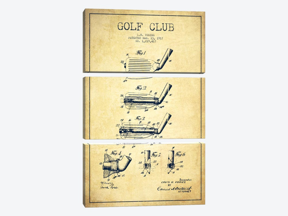 Golf Club Vintage Patent Blueprint by Aged Pixel 3-piece Canvas Wall Art