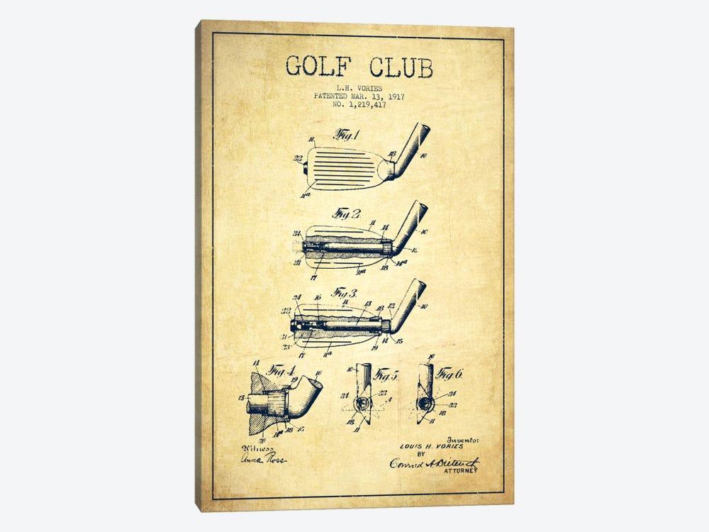 Golf Club Vintage Patent Blueprint by Aged Pixel 1-piece Canvas Art