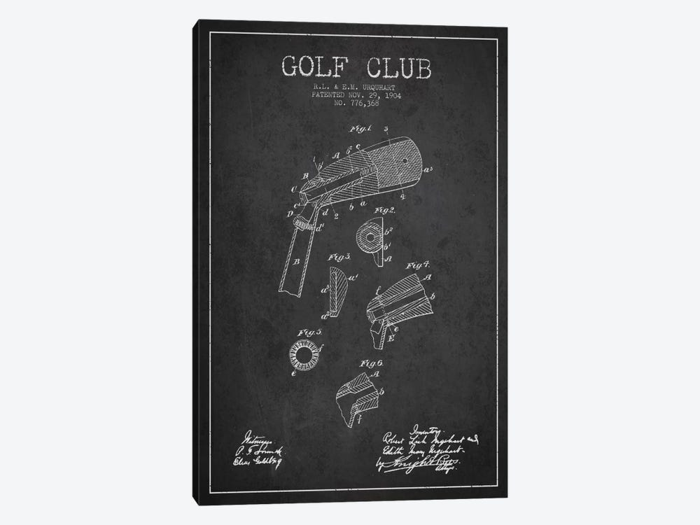 Golf Club Charcoal Patent Blueprint by Aged Pixel 1-piece Art Print