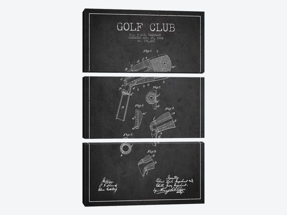 Golf Club Charcoal Patent Blueprint 3-piece Canvas Art Print
