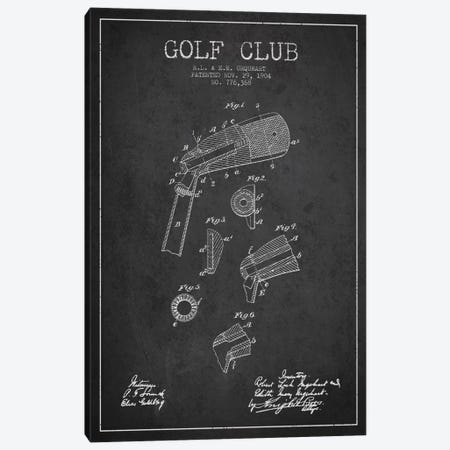 Golf Club Charcoal Patent Blueprint Canvas Print #ADP2135} by Aged Pixel Art Print