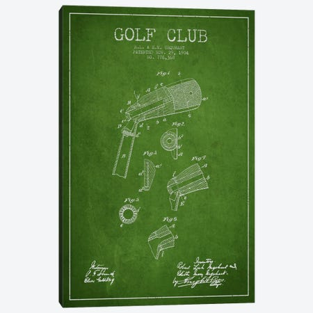 Golf Club Green Patent Blueprint Canvas Print #ADP2136} by Aged Pixel Canvas Print