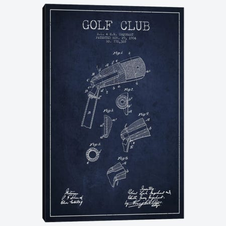 Golf Club Navy Blue Patent Blueprint Canvas Print #ADP2137} by Aged Pixel Art Print