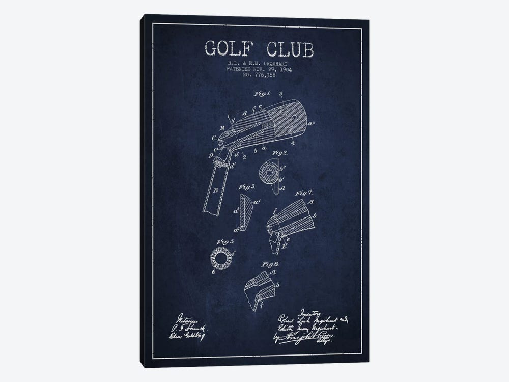 Golf Club Navy Blue Patent Blueprint 1-piece Art Print