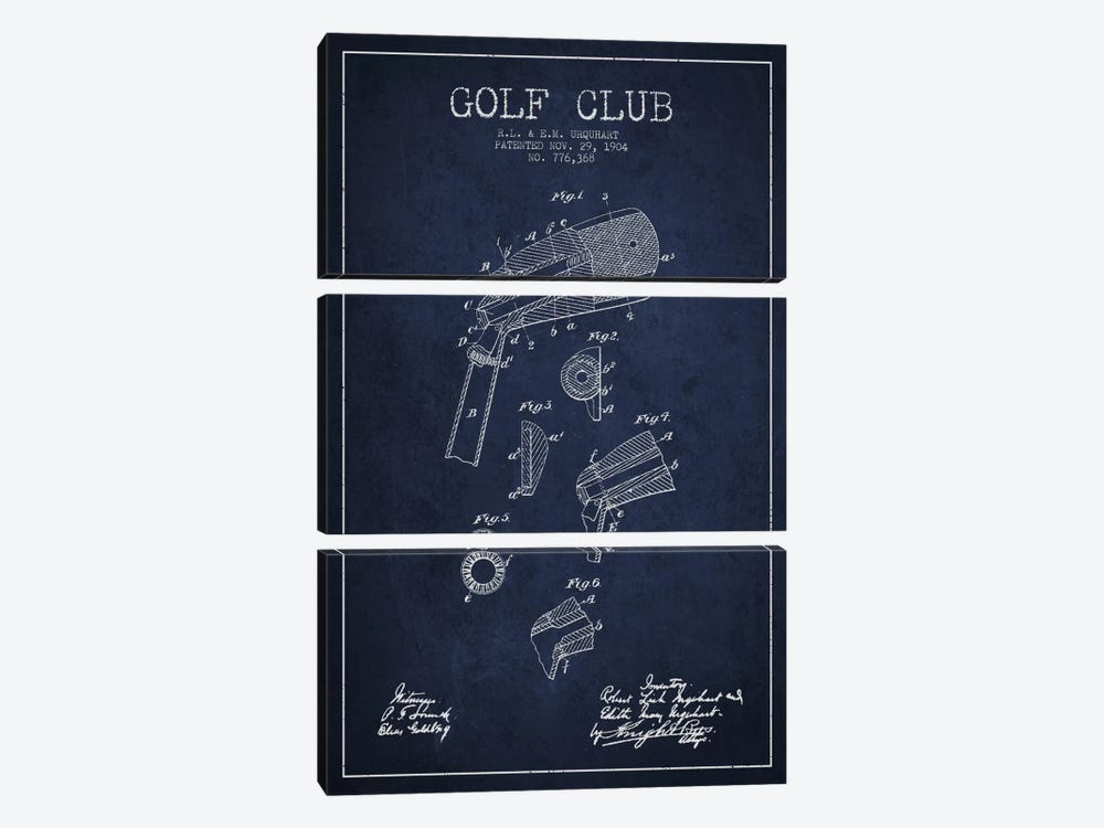 Golf Club Navy Blue Patent Blueprint 3-piece Canvas Art Print