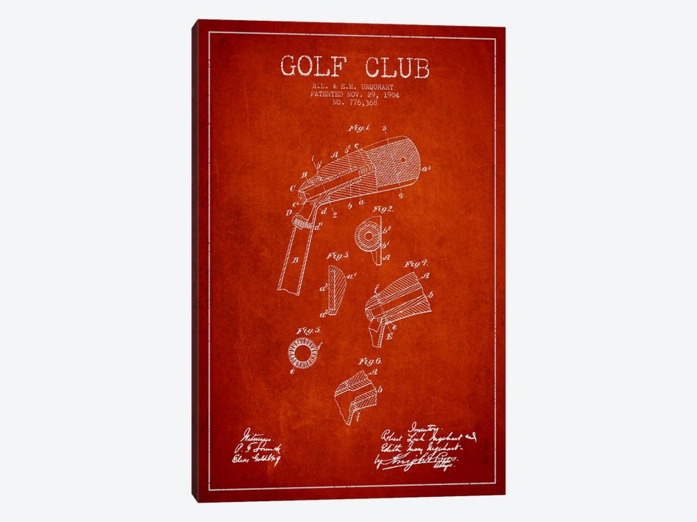 Golf Club Red Patent Blueprint by Aged Pixel 1-piece Canvas Wall Art