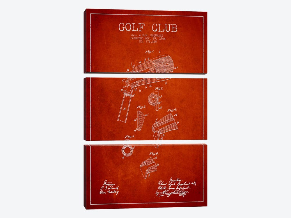 Golf Club Red Patent Blueprint by Aged Pixel 3-piece Canvas Artwork