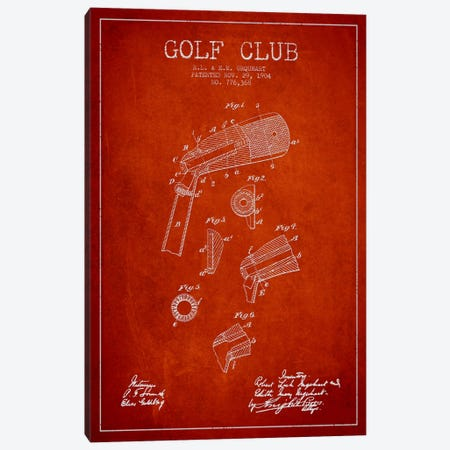 Golf Club Red Patent Blueprint Canvas Print #ADP2138} by Aged Pixel Canvas Artwork