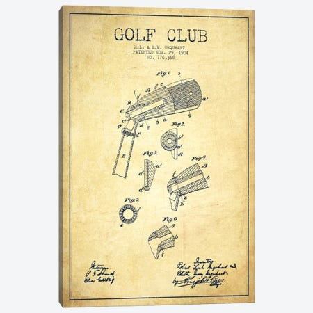 Golf Club Vintage Patent Blueprint Canvas Print #ADP2139} by Aged Pixel Canvas Art