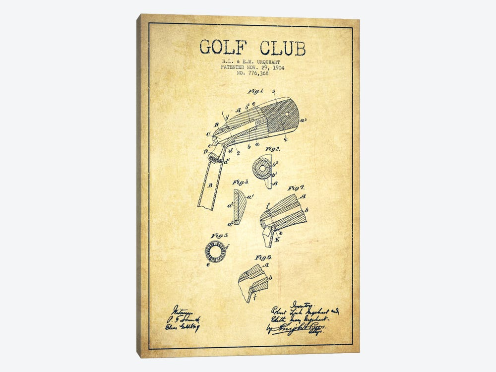 Golf Club Vintage Patent Blueprint by Aged Pixel 1-piece Canvas Art Print