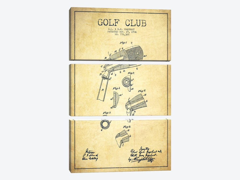 Golf Club Vintage Patent Blueprint by Aged Pixel 3-piece Canvas Print