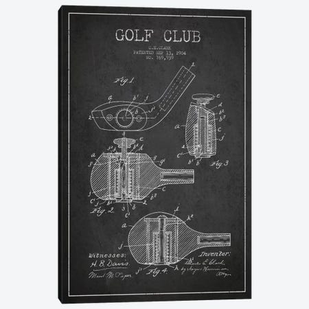 Golf Club Charcoal Patent Blueprint Canvas Print #ADP2140} by Aged Pixel Art Print