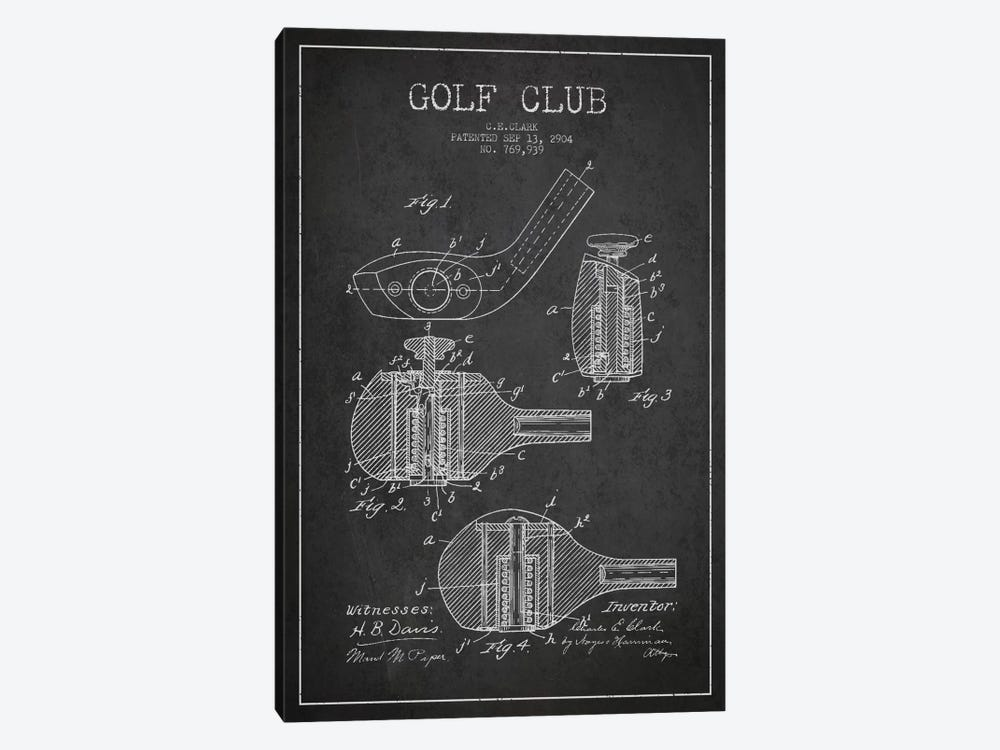 Golf Club Charcoal Patent Blueprint by Aged Pixel 1-piece Canvas Print