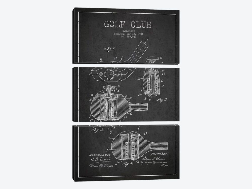 Golf Club Charcoal Patent Blueprint by Aged Pixel 3-piece Canvas Art Print