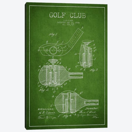 Golf Club Green Patent Blueprint Canvas Print #ADP2141} by Aged Pixel Canvas Print