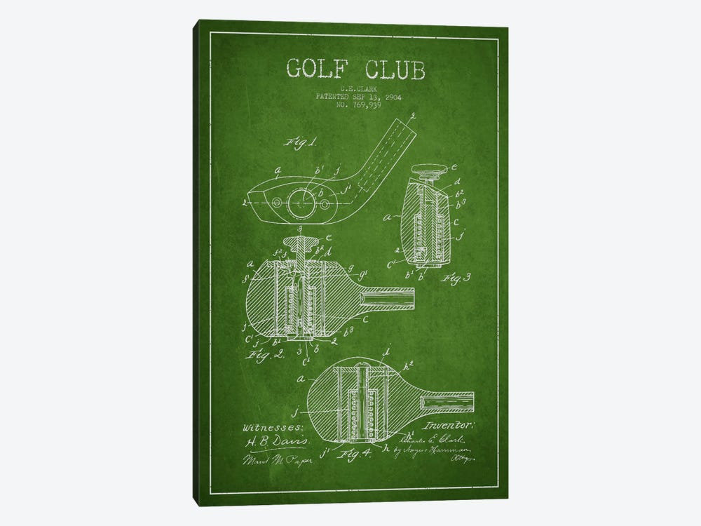 Golf Club Green Patent Blueprint by Aged Pixel 1-piece Canvas Wall Art