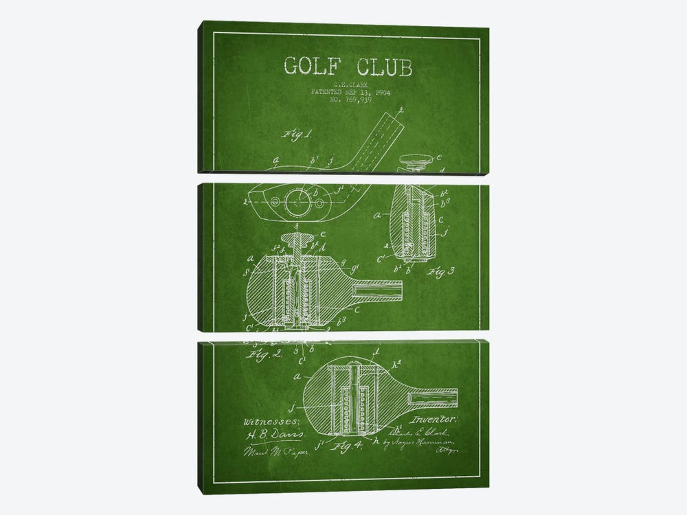 Golf Club Green Patent Blueprint by Aged Pixel 3-piece Canvas Art