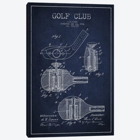 Golf Club Navy Blue Patent Blueprint Canvas Print #ADP2142} by Aged Pixel Art Print