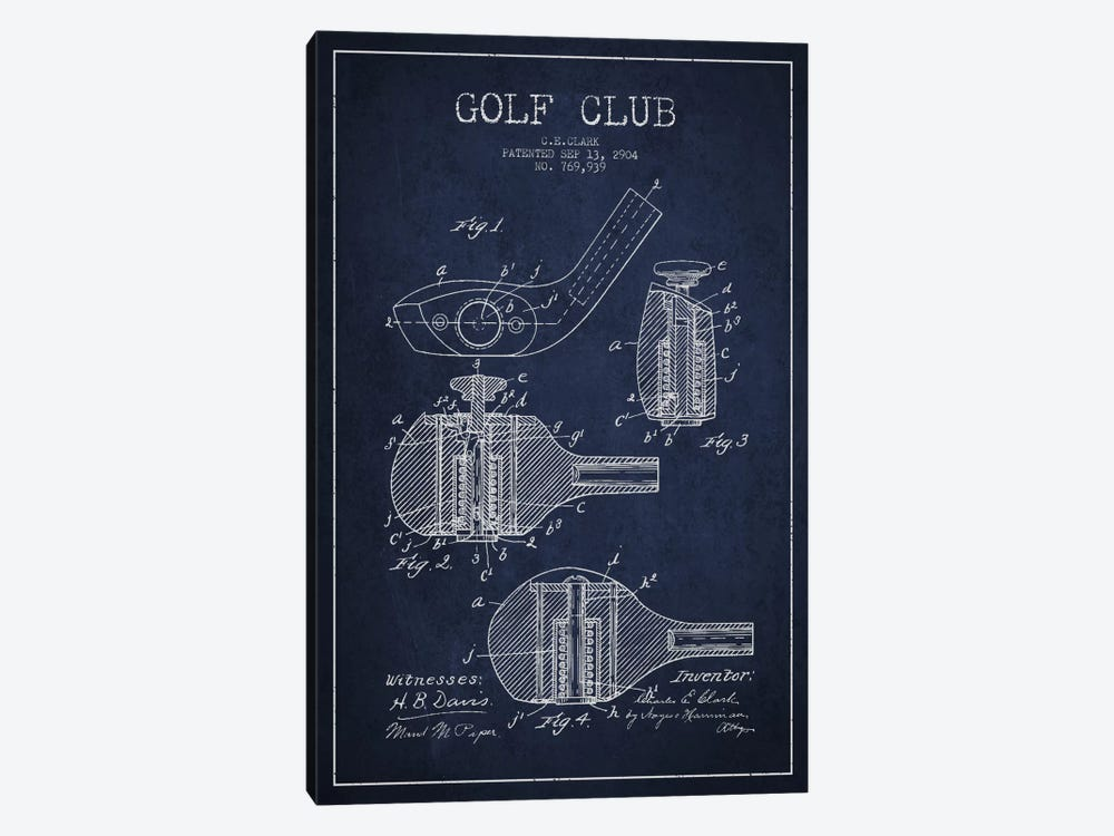 Golf Club Navy Blue Patent Blueprint by Aged Pixel 1-piece Art Print