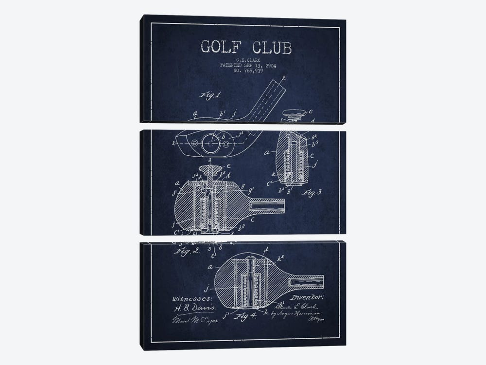 Golf Club Navy Blue Patent Blueprint by Aged Pixel 3-piece Canvas Print