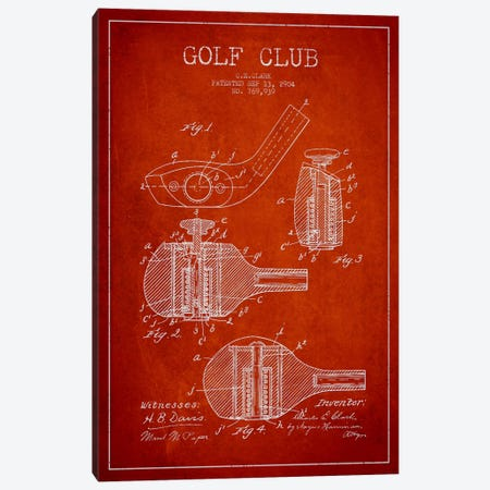 Golf Club Red Patent Blueprint Canvas Print #ADP2143} by Aged Pixel Canvas Art Print