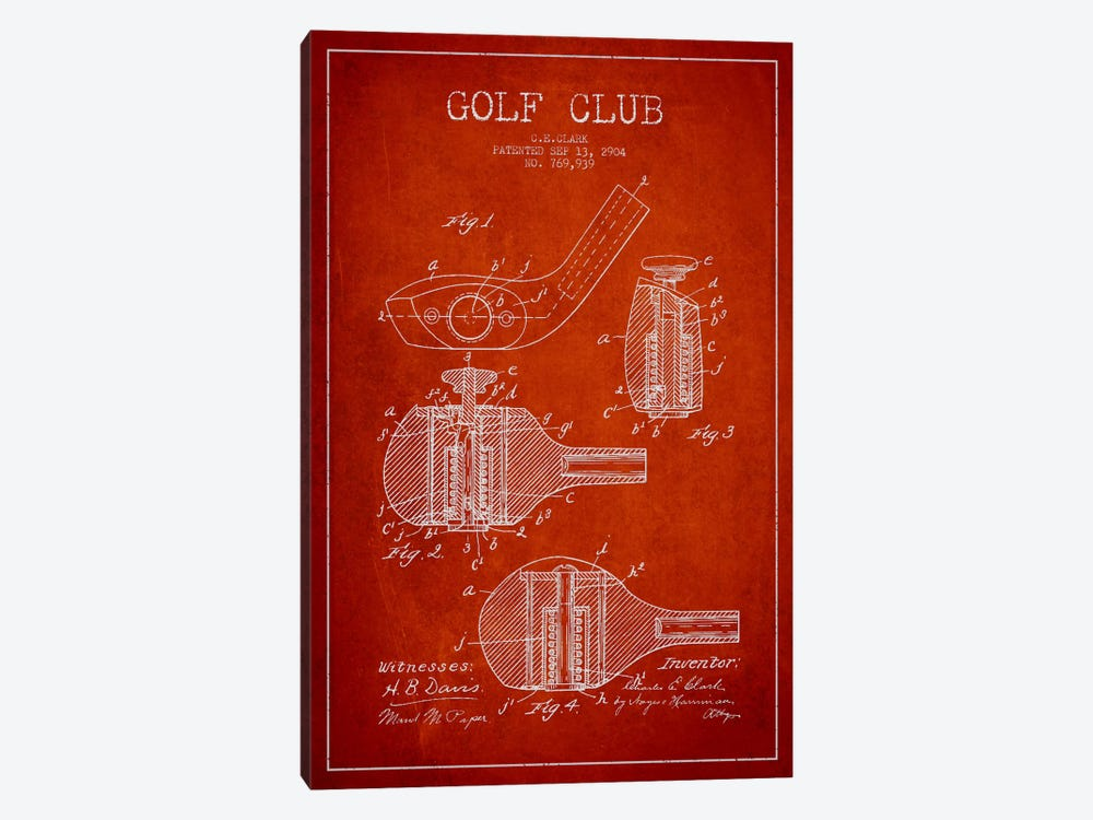 Golf Club Red Patent Blueprint by Aged Pixel 1-piece Canvas Artwork