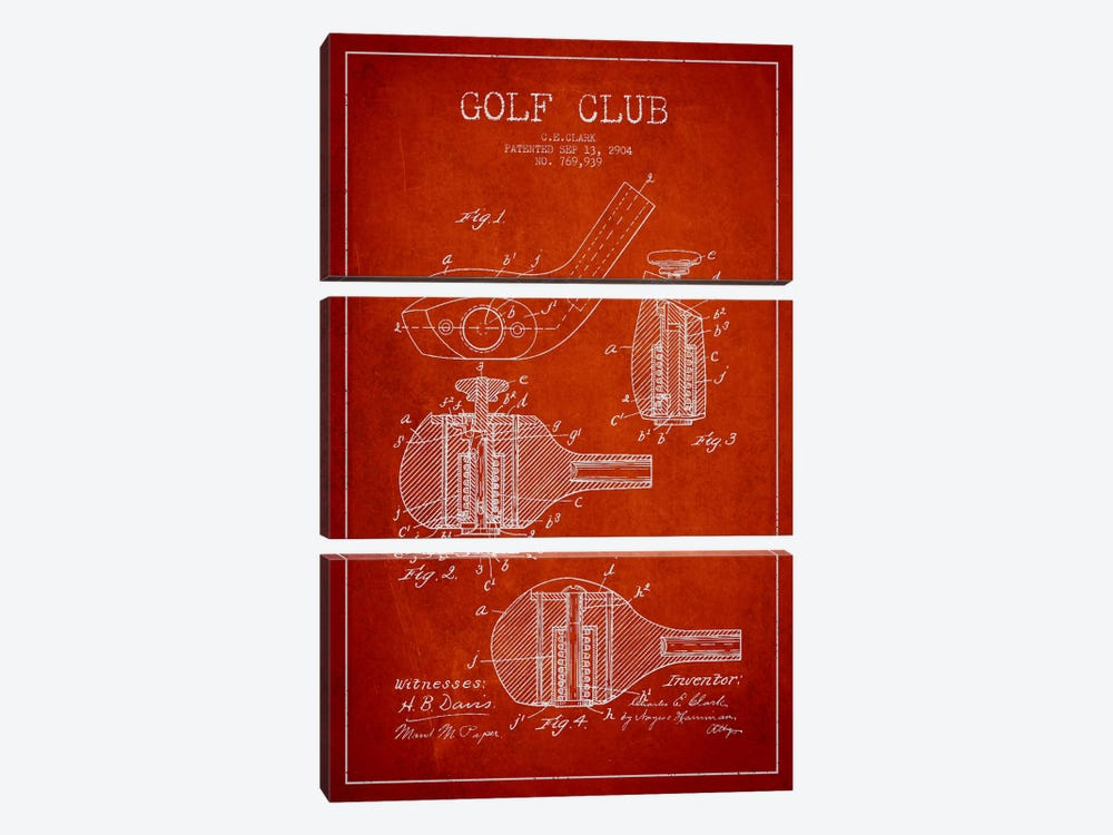 Golf Club Red Patent Blueprint by Aged Pixel 3-piece Canvas Wall Art