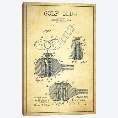 Golf Club Vintage Patent Blueprint Canvas Print #ADP2144} by Aged Pixel Canvas Artwork