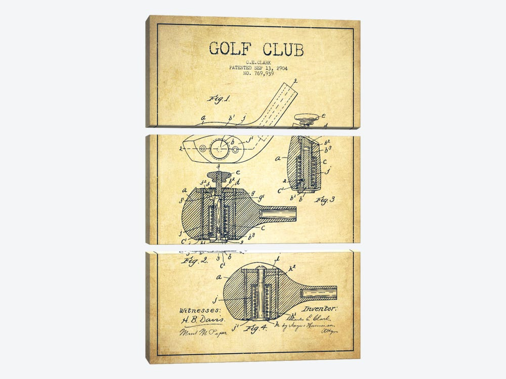 Golf Club Vintage Patent Blueprint by Aged Pixel 3-piece Canvas Print