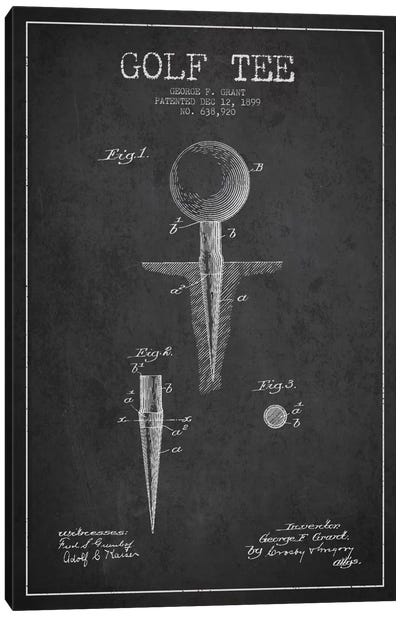 Golf Tee Charcoal Patent Blueprint Canvas Art Print