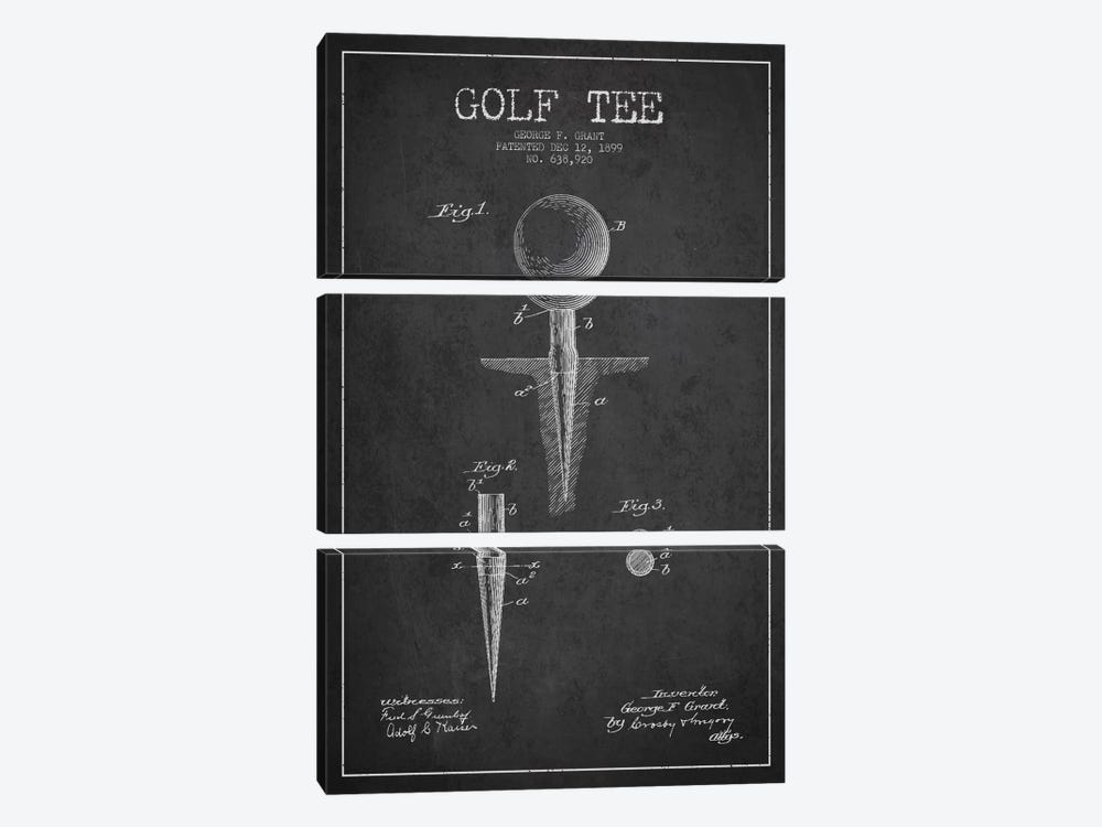 Golf Tee Charcoal Patent Blueprint by Aged Pixel 3-piece Canvas Art