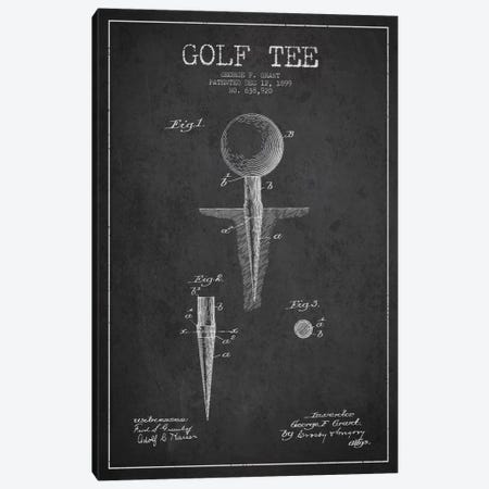 Golf Tee Charcoal Patent Blueprint Canvas Print #ADP2145} by Aged Pixel Canvas Wall Art